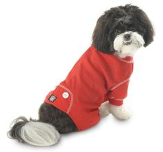 Amazon.com: PetRageous Cozy Thermal Pajamas for Pets, Small, Red with White Stitching: Pet Supplies