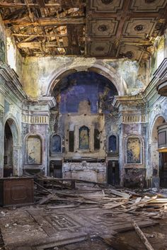 Lilac walls. Green frieze. TED Fellow and photographer Jorge Mañes Rubio shares beautiful but creepy photographs of abandoned Salerno, in the south of Italy, where villages were deserted after a series of earthquakes and lan...