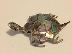 Sterling Abalone 925 Mexico Turtle Brooch Vintage lot 1019 by OzarkFarmGirls on Etsy