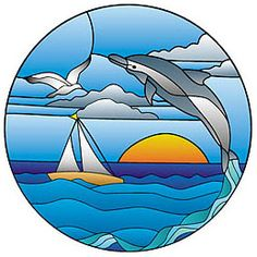 Dolphin Jumping in Sunset Pattern - Alpine Stained Glass and Door Faux Stained Glass, Stained Glass Lamps, Stained Glass Designs, Stained Glass Panels, Stained Glass Projects, Stained Glass Patterns, Mosaic Art, Mosaic Glass, Art Drawings For Kids