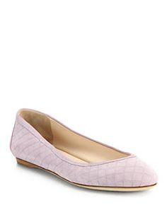 635a878f7b041 Bottega Veneta - Embossed Suede Intrecciato Flats Comfortable Flats