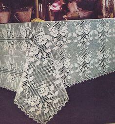 Vintage Crochet Pattern Rose Filet Tablecloth Motif RoseFiletTablecloth
