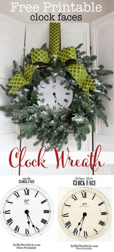 2 Free Printables clock faces to use to decorate a Christmas wreath or anything you can imagaine | In My Own Style
