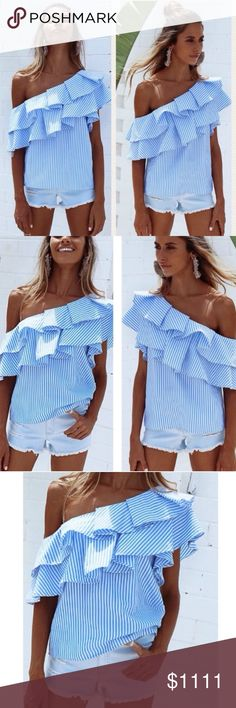 """DELILAH sky Blue striped Ruffle Cold shoulder Top COMING SOON """"Delilah"""" sky Blue striped Ruffle Cold shoulder Top. Will be available in 10-12 days. Super trendy and cute for spring summer! Color is blue and white. Sizes S-L This blouse is great for spring summer parties beach road trips shopping night out vacation traveling cruises after work attire.""""Dahlia"""" sky Blue striped Ruffle Cold shoulder Top price is not 11111 Women's Wear Tops Blouses"""