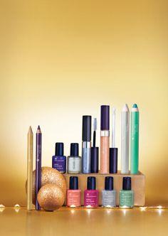 Colección maquillaje de Navidad. Colores tendencia con toques de purpurina.