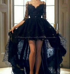Simple-dress A-line Black Lace Off-shoulder High-low Prom Dresses/Homecoming Dresses/Evening Dresses LAPD-7394