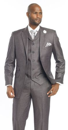 New-Mens-Plaid-3-Piece-Micro-Check-Black-Suit-M2694-EJ-Samuel-Jacket-Vest-Pants
