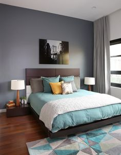 Surya's geometric Cosmopolitan rug is the perfect addition to this contemporary bedroom! Interior design by Workroom Couture Home Master Bedroom Design, Home Bedroom, Bedroom Wall, Bedroom Decor, Bedroom Ideas, Bedroom Designs, Contemporary Bedroom, Modern Bedroom, Zen Bedrooms