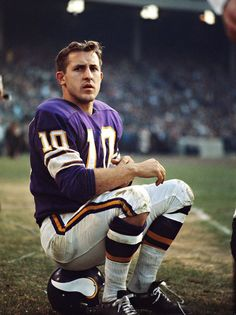 Fran Tarkenton of the Minnesota Vikings (also played for the New York Giants) waits on the sideline.
