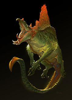 花瓣 # character design monster water alligator like Monster Art, Monster Design, Alien Creatures, Fantasy Creatures, Mythical Creatures, Creature Feature, Creature Design, Fantasy Beasts, Fantasy Art