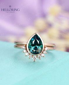 Teal sapphire Engagement Ring set Rose gold ring Vintage Pear | Etsy
