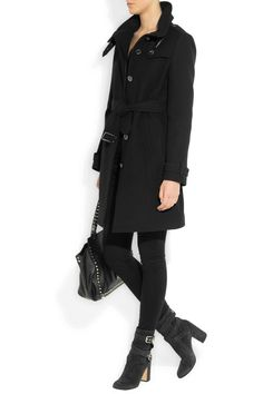 Burberry Brit coat, Gucci top, Frame Denim jeans, Gianvito Rossi boots, Valentino bag.