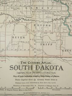 South Dakota Map 1902 Vintage Map Midwest by OldMapsandPrints