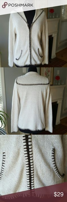 Selling this Hand embroidered tan sweater with dark brown on Poshmark! My username is: bettyecloset. #shopmycloset #poshmark #fashion #shopping #style #forsale #Christopher & Banks #Sweaters