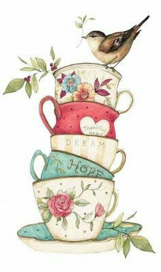 Care for a cup of tea? From the Dimensions Gold Petite Series, this Stacked Tea Cups cross stitch kit features a stack of beautiful tea cups with a little bird perching at the top. Cupcake Illustration, Tea Cup Art, Tea Cups, Cross Stitch Designs, Cross Stitch Patterns, Dimensions Cross Stitch, Foto Transfer, Pintura Country, Decoupage Paper