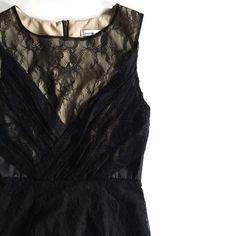"""Cynthia Steffe Illusion Black Lace LBD Streamline Cynthia Steffe black lace dress. Beautiful twist on the traditional LBD. Black lace dress with nude fabric behind the black lace neckline behind, accentuating the black lace gathered bust line. Nude black lace covered back. Black silky sections in both sides add a little something extra to the finesse of this dress. Super delicate, lightweight and incredibly well made. True to size 0.   Length: 32.5"""" Bust: 32"""" with stretch to 34"""" Waist…"""