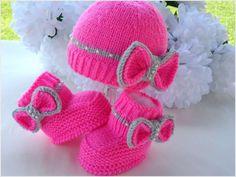 Bebekler için sevimli örgü şapka ve patik modelleri