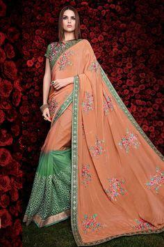 #Andaazfashion Crème vert et orange gerogette sari avec chemisier en soie d'art  http://www.andaazfashion.fr/womens/sarees/cream-green-and-orange-georgette-saree-with-art-silk-blouse-dmv8463-23844.html