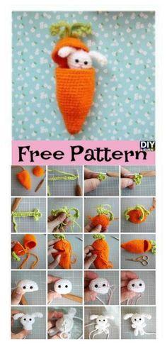 Carrot Surprise Easter Bunny Crochet Free Pattern #freepattern