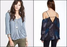 $78 Free People Adelia Off Shoulder Blouse Soft Jersey Strappy Top L NEW F432