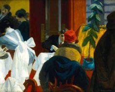 EDWARD HOPPER New York Restaurant II, c. 1922, oil on canvas: Dimensions: 24.0 (H) × 29.9 (W) inch / 61 (H) × 76 (W) cm