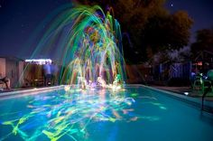 "20 Cool Glow Stick Idea pool party, happy face balloon party, illuminate jack'o lantern, Floating lit balloons"""