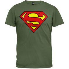 Superman DC Comics Superhero Wartorn Flag S Shield Logo Big Boys T-Shirt Tee