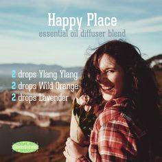 Here's a great essential oil diffuser blend for when you just need to find your own personal happy place. Wild Orange has an energizing and revitalizing aroma, which is why it's commonly used as an effective tool for uplifting mood. Lavender has SO MANY therapeutic properties, and is especially great for its calming and relaxing qualities. And Ylang Ylang! So much to offer therapeutically! It's so effective for uplifting your mood, as well as having calming properties. www.hayleyhobson.com