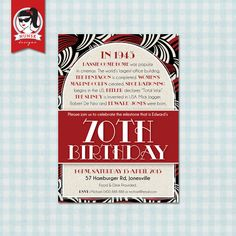 70th Milestone Birthday Party Invitations  Men's  by NunskDesigns, $15.00