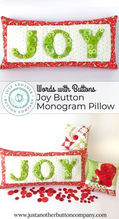 Sewing Craft Learn how to sew three letter monogram pillow in this free tutorial from Just Another Button Company. Embellish the finished pillow with their handmade and hand-dyed buttons. Sewing Hacks, Sewing Crafts, Sewing Projects, Craft Projects, Craft Ideas, Craft Tutorials, Sewing Tutorials, Sewing Ideas, Applique Patterns
