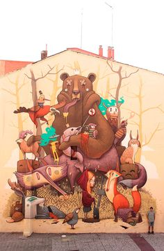 Street art work 'Tribute to the Iberian Wildlife' by Dulk