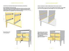 Werktekening bouwtekening , commode, ladekast  'Leon'