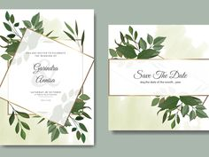 Wedding invitation card template set with tropical leaves deco by MARIA NURINCE DOMINGGAS on Dribbble  #Freepik #adobestock  #vector #flower #frame #wedding #watercolor #leaves #colourful #tropical Wedding Invitation Card Template, Wedding Invitations, Watercolor Leaves, You Are Invited, Tropical Leaves, Flower Frame, Save The Date, Wedding Flowers, Place Card Holders