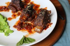 Braised Short Ribs in Red-Wine Sauce with Fresh Basil and Smoked Paprika - thewoodenskillet.com