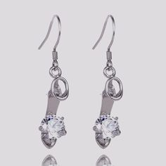 "New womens crystal high heels 1.5"" hook dangle earrings silver plated #Unbranded #HookDangle"