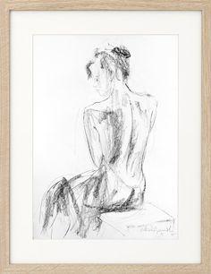 Woman drawing, Giclee art print, Charcoal Sketch, Wall art print, Figurative Modern Artwork, Graphic art print, Nude woman, Artistic drawing