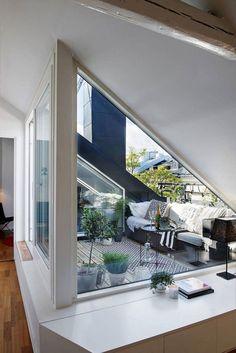 Aménagement toit terrasse moderne – 22 idées magnifiques à piquer Attic Apartment, Attic Rooms, Attic Spaces, Roof Terrace Design, Rooftop Design, Rooftop Terrace, Deck Design, Terrasse Design, Balkon Design