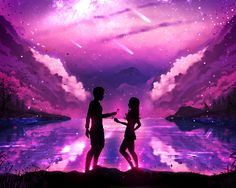 Special Gift by ryky on DeviantArt Fantasy Landscape, Fantasy Art, Emo Disney, Love Wallpaper Backgrounds, Wallpapers, Anime Scenery, Night Skies, Anime Couples, Photo Art
