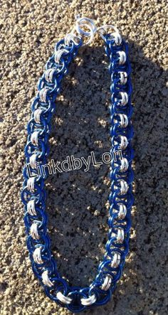 Blue and Silver Helm Chainmail Bracelet | Linkdbylori - Jewelry on ArtFire