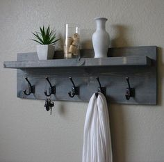 Maiselle Coat Rack with Floating Shelf Rustic Weathered Gray 5 Hanger Hook Coat Rack with Floating Shelf Wall Shelf With Hooks, Hanging Shelves, Wall Shelves, Floating Shelves, Ikea Shelves, Wood Shelf, Floating Wall, Diy Hat Rack, Rustic Coat Rack