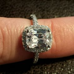 NWOT 3 Karat Cz 925 Ring Size 6 A beautiful ring with a tiny flaw as you can see in picture 3. Still gorgeous. Stamped 925. 3 karats. Jewelry Rings