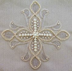 Russian ecclesiastical embroidery.  Pearl embroidery with metal threads.