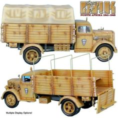 World War II German Afrika Korps DAK011 Opel Blitz Truck - Made by First Legion Military Miniatures and Models. Factory made, hand assembled, painted and boxed in a padded decorative box. Excellent gift for the enthusiast.