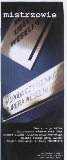 """Pracownia sukien ślubnych Joanna Duda - Koprowska w doborowym towarzystwie Mistrzów Usługi Weselnej. Tytuł przyznawany corocznie dla jednej, wybranej Firmy z branży. Wybór czytelników """"Kuriera Weselnego"""""""