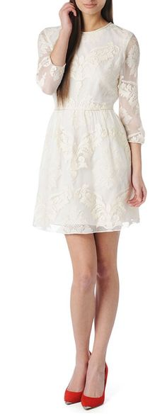 White lace dress + red heels