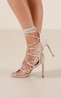 Billini - Nikita Heels In Nude White Lace, White Dress, Lace Up, Strappy Heels, Stiletto Heels, Lover Dress, Ankle Straps, Lace Overlay, Black Suede