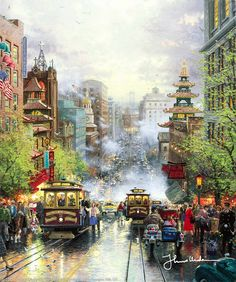 San Francisco, A View Down California Street From Nob Hill by Thomas Kinkade