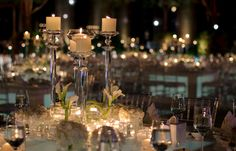 A sea of a thousand tea lights and white hydrangeas adorn the tables at a spectacular outdoor wedding at The Ritz-Carlton, Dubai International Financial Centre.