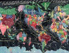 The World  by Paula Scher  ARTIST STATEMENT    The World is a painting about information overload. It depicts the world as swirling information that is always changing, often inaccurate, while somewhat illuminating. It is expressionistic information.