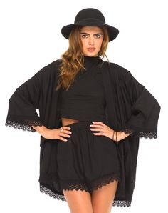 Motel Kimono Lace Trim Jacket in Black, TopShop, ASOS, House of Fraser, Nasty gal